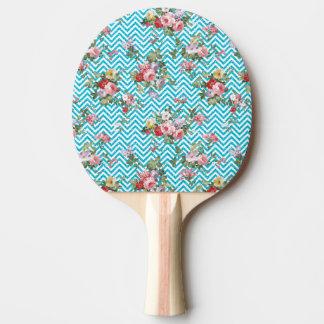 Pink Aqua Vintage Floral Chevron Glitter Print Ping Pong Paddle