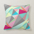 Pink Aqua Yellow Grey Abstract Triangle Pattern Cushion