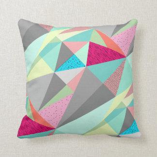 Pink Aqua Yellow Grey Abstract Triangle Pattern Cushion