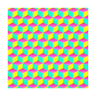 Pink Aqua Yellow Shaded 3D Look Cubes Gallery Wrap Canvas