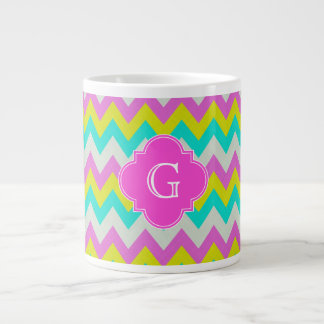 Pink Aqua Yellow Wht Chevron Quatrefoil Monogram Large Coffee Mug