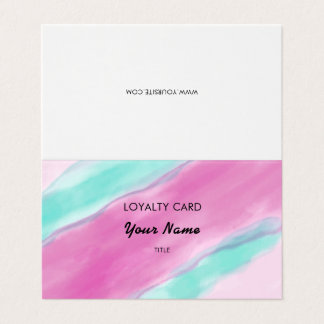 Pink Aquamarine Watercolor Professional Loyalty Business Card