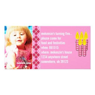 Pink Argyle Birthdy Photo Invitation Photo Cards