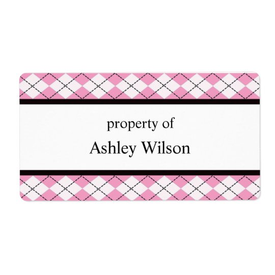 Pink Argyle Labels