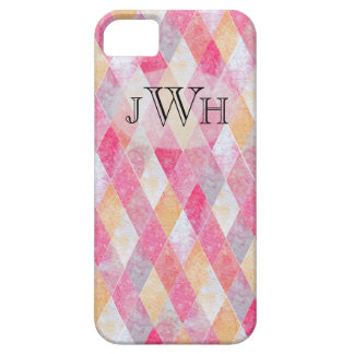 Pink Argyle Monogram Barely There iPhone 5 Case