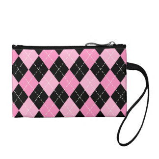 Pink Argyle Pattern Bagettes Key Coin Clutch