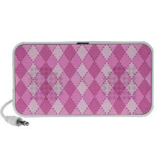 Pink argyle pattern girls portable speakers