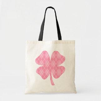 Pink Argyle Shamrock Tote Bag
