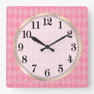 Pink Argyle Square Wall Clock