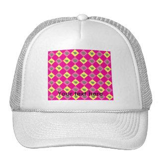 Pink argyle turtle pattern trucker hat