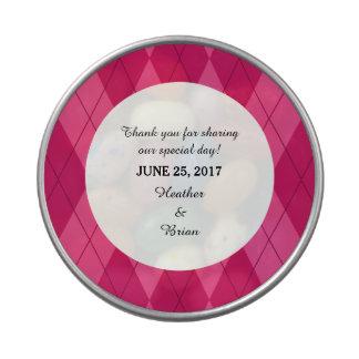 Pink Argyle Wedding Candy Tin