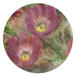 Pink Arizona Desert Flowers Plate