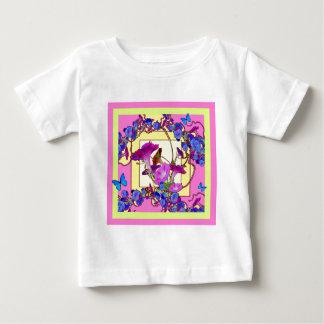 Pink art Blue Morning glories Baby T-Shirt