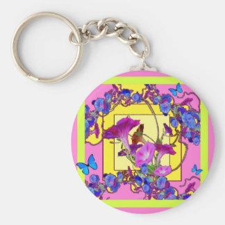 Pink art Blue Morning glories Basic Round Button Key Ring