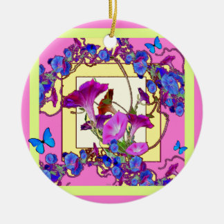 Pink art Blue Morning glories Ceramic Ornament