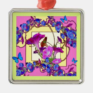 Pink art Blue Morning glories Metal Ornament