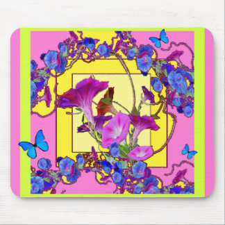 Pink art Blue Morning glories Mouse Pad