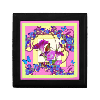 Pink art Blue Morning glories Small Square Gift Box