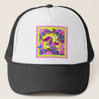 Pink art Blue Morning glories Trucker Hat