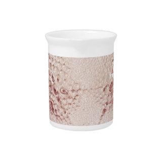 Pink Art Deco glass vase with bubbles. Pitcher