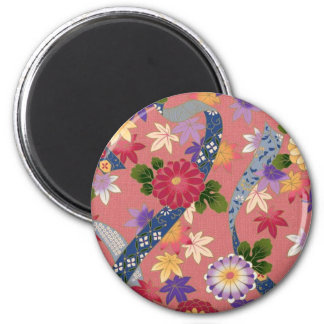 Pink Asian Floral 6 Cm Round Magnet