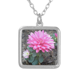 Pink Aster Flowers Square Pendant Necklace