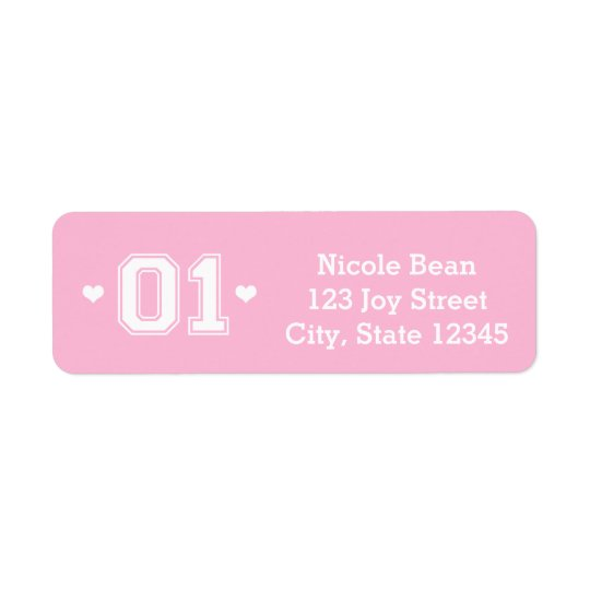 Pink Athletic 01 1st Birthday Address Labels