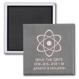 Pink Atomic Chalkboard Save the Date Magnet