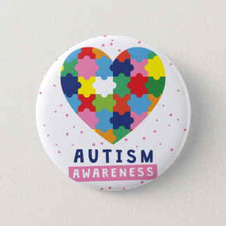pink autism awareness 6 cm round badge