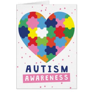 pink autism awareness card