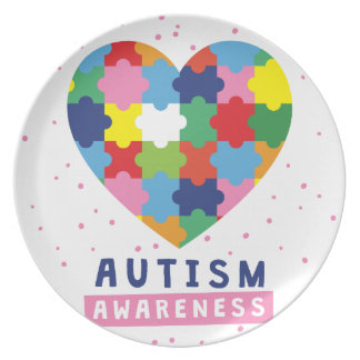 pink autism awareness plate