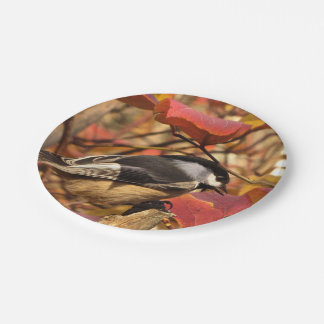 Pink Autumn Foliage with Chickadee Birds Paper Plate