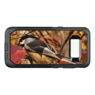 Pink Autumn Leaves and Chickadee Bird OtterBox Commuter Samsung Galaxy S8 Case