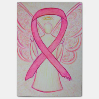 Pink Awareness Ribbon Angel Art Post It Notes Post-it® Notes