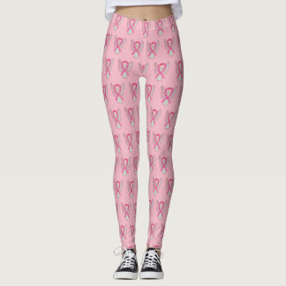 Pink Awareness Ribbon Angel Breast Cancer Leggings