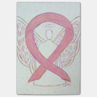 Pink Awareness Ribbon Angel Custom Sticky Notes Post-it® Notes