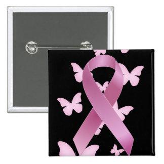 Pink Awareness Ribbon 15 Cm Square Badge
