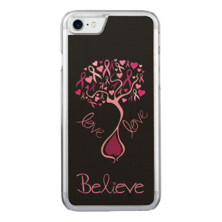 Pink Awareness Ribbon with Inspirational Words Carved iPhone 8/7 Case