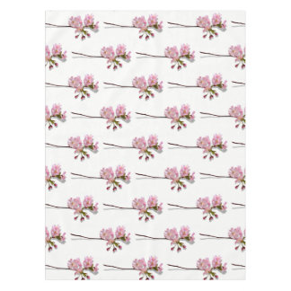 Pink Azalea branches floral flowers white Tablecloth