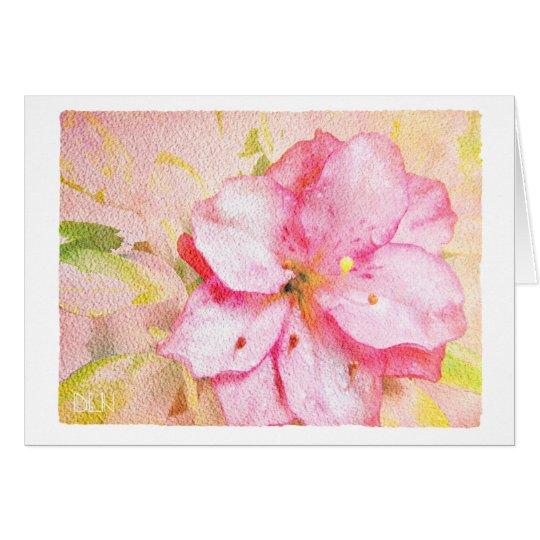 Pink Azalea/Floral  Art/Watercolor Look Card