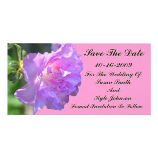 Pink Azalea Flower Wedding Save The Date Picture Card