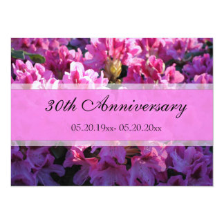 Pink azalea flowering wedding anniversary invitations