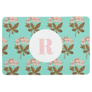 Pink Azalea Flowers & Mint Monogram Floor Mat