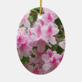 Pink Azaleas Painterly Ceramic Oval Decoration