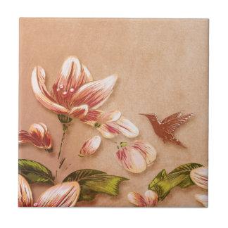 Pink Azaleas Vintage Floral on Whiskey Wedding Ceramic Tile