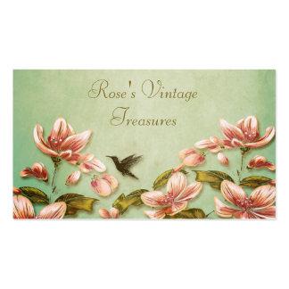 Pink Azaleas Vintage  on Green Mist Retro Business Card Templates