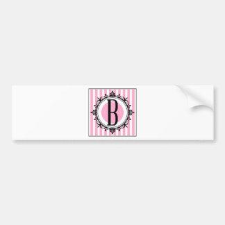 Pink 'B' monogram Bumper Stickers