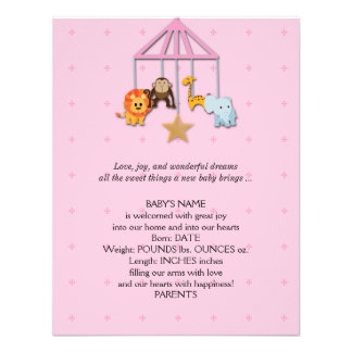Pink Baby Animal Mobile Baby Announcement