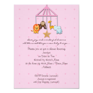 Pink Baby Animal Mobile Baby Shower Invitation