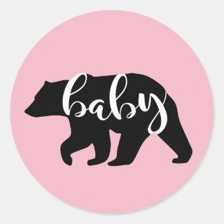 Pink Baby Bear Classic Round Sticker